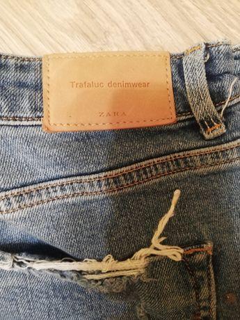 ZARA, spodnie, jeansy z przetarciami