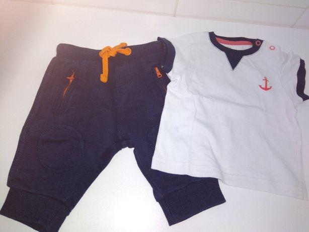 Calças, camisa, t shirt, camisola e chapéu branco t. 3 a 6 meses
