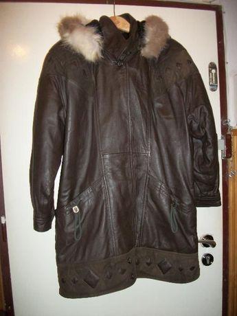 SUPER kurtka skórzana z kapturem,brązowa,zagraniczna