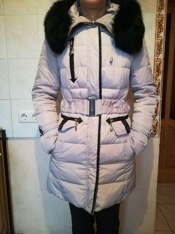 Женская теплая длинная куртка / женский пуховик 44 размер (бежевый)