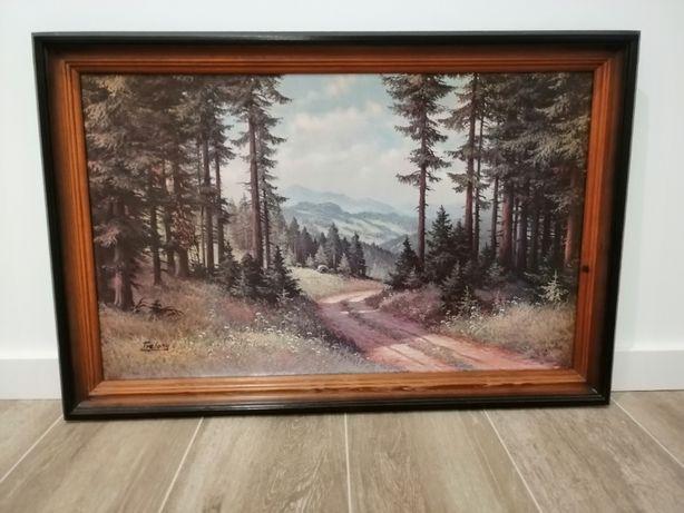 obraz reprodukcja Trelony pejzaż las góry drewniana rama