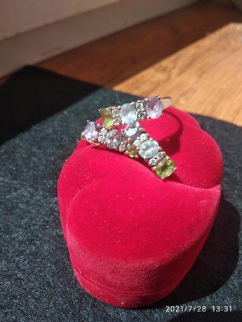 Набор кольцо и серьги. Серебро 925 в позолоте. Камни.