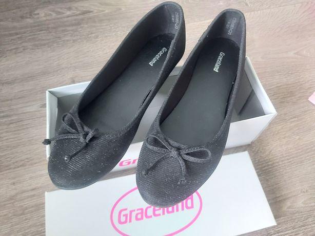 Graceland nowe balerinki 38 czarne błyszczące brokat