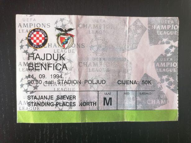 Bilhete Hajduk Split - SL Benfica 94/95