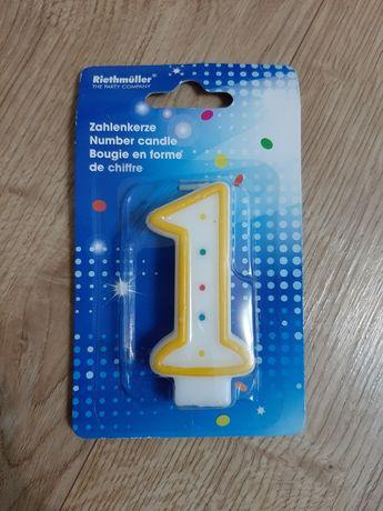 1 Pierwsze urodziny świeczka w kształcie cyfry jeden na tort Nowa