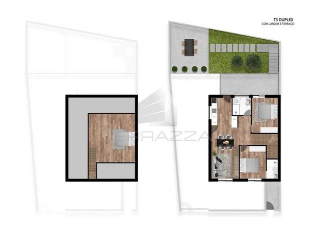 Andar Moradia T3 1º Andar Duplex com terraço e jardim