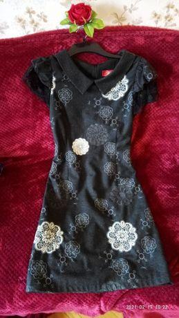 Офисное платье шикарное нарядное теплое шерсть 50% расшитое кружевом