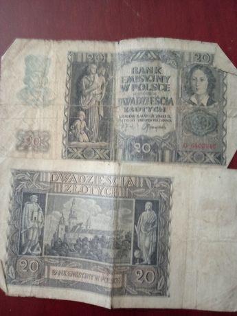 Banknoty 100zł, 50zł, 20zł z 1940 roku