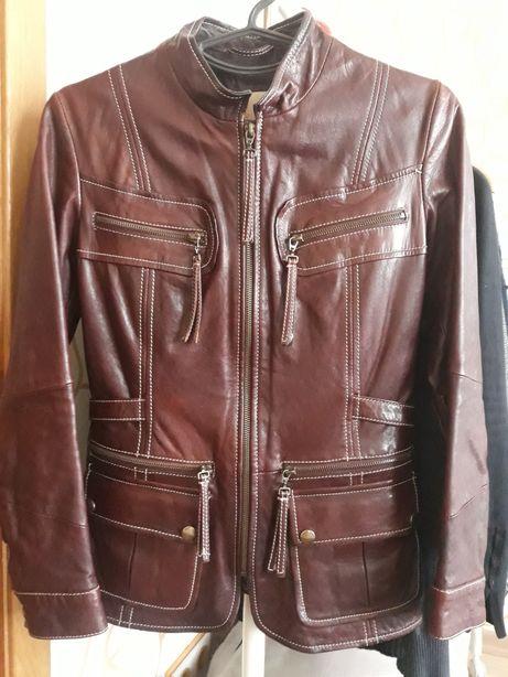 Куртка пиджак кожаная размер S