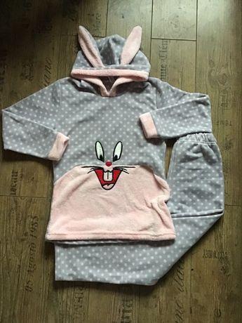 NOWA polarowa piżama 40 L królik z uszami piżamka