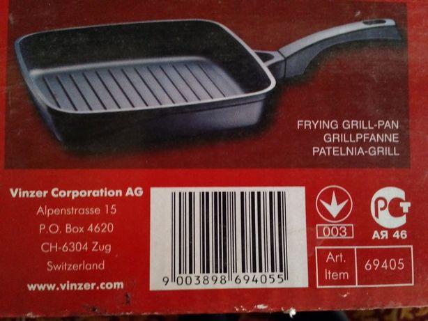 Сковорода гриль VINZER Teflon Platinum 26х26 см. Cast form CLASSIC