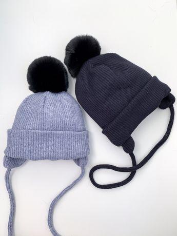 Зимняя шапка и хомут для мальчика 48-54