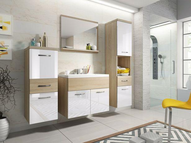 Zestaw mebli łazienkowych szafka z umywalką ALBA biały / dąb sonoma
