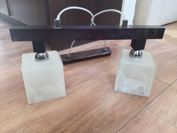 Lampa podwójna podsufitowa w komplecie ze stelażem, wenge