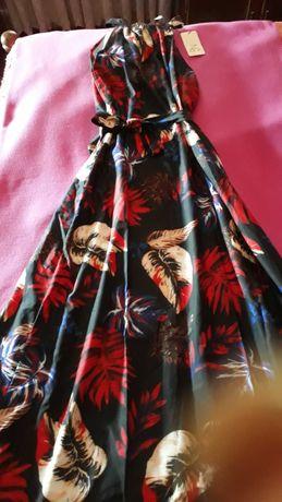 Vestido comprido verão com gola halter M/L - Preto com Padrão