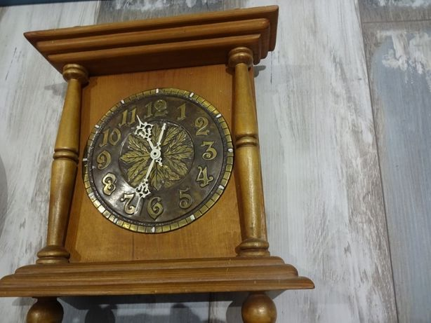 zegar, drewniany, tarcza blacha mosiężna