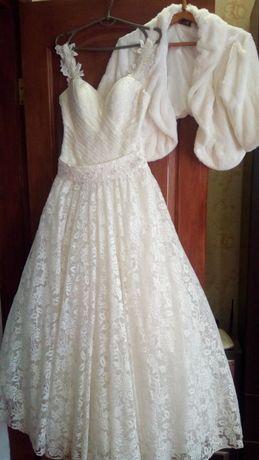 свадебное платье и накидка 44-48