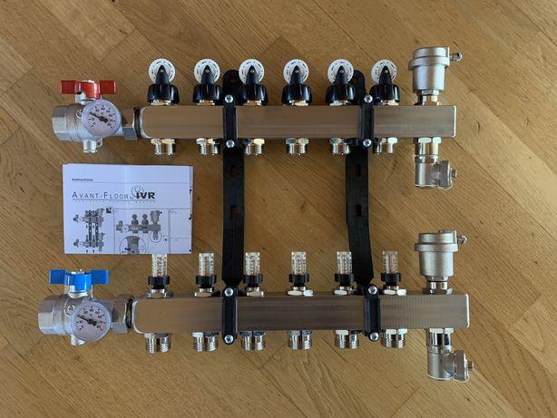 Колектор для теплої підлоги на 6 виходів, колекторний блок