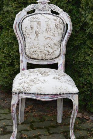 krzeslo medalion shabby chic scenka rodzajowa