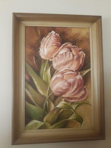 Obraz olejny płótno tulipany