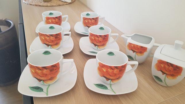 Zestaw kawowy porcelana Karolina 6 osób, 14 części, na prezent, NOWY