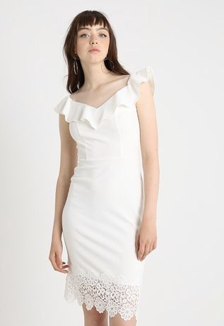 Biała sukienka jak hiszpanka midi z koronką dopasowana 40 L nowa