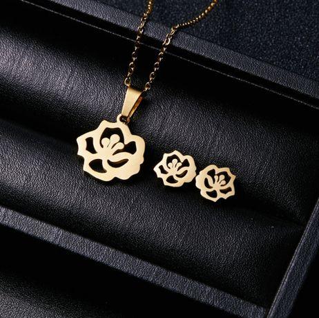 FLOWERS - Złoty Komplet Biżuterii Naszyjnik + Kolczyki