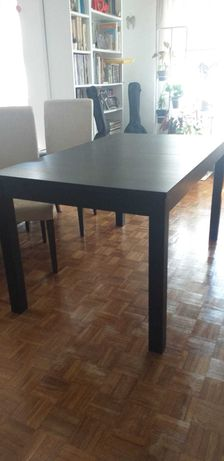 Mesa de jantar extensível ikea modelo bjursta preta