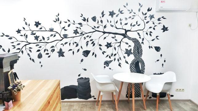 Рисунок на стене. Роспись стен. Роспись помещения.