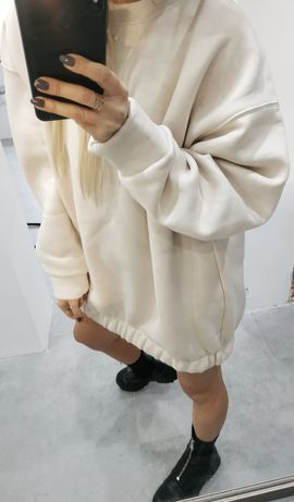 Bluza Zara oversize nude creme s z gumką