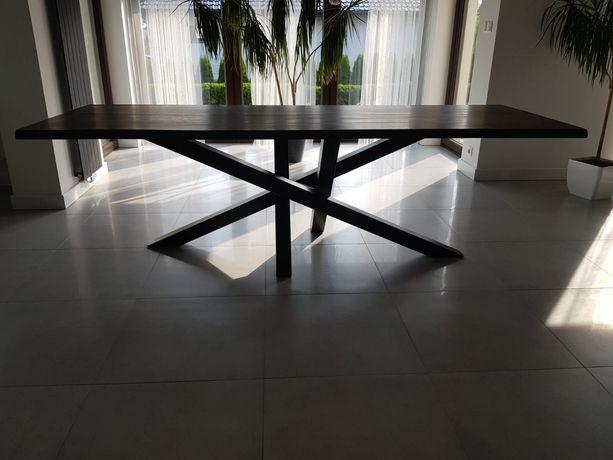 Stół industrialny 250x90 blat dębowy, woskowany