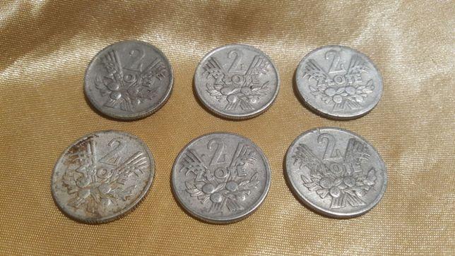 Monety 2 zł Jagody od 1958 r.do 1974 r. Sztuk 6