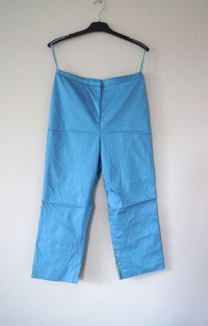 eleganckie materialowe lsniace jasnoniebieskie spodnie dlugie 40L 42XL