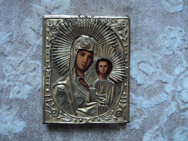 Икона Казанская Б.М. в латунном окладе, 14,5х18,5 см