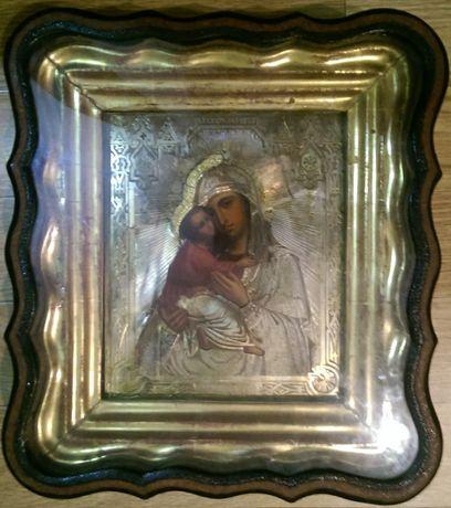 Старая икона БМ Владимирская, 22х27см, серебряный оклад.