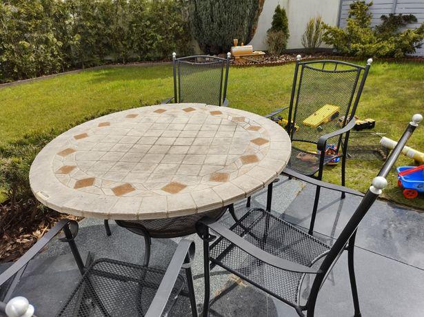zestaw SUN GARDEN PATIO ROMA Stół Kamienny Ogrodowy 125 CM + 4 k
