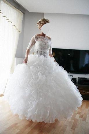suknia slubna falbanki, bolerko koronka 36 38