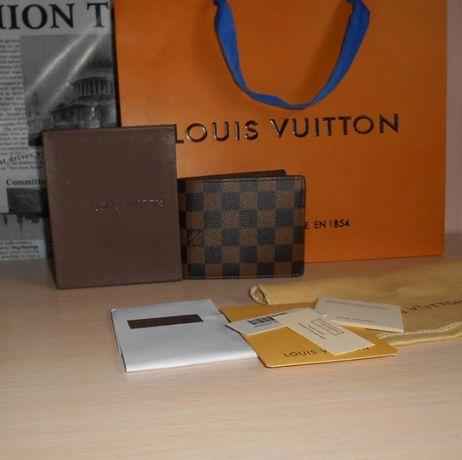 Męski portfel Louis Vuitton skóra ze skóry skórza, LV na prezent 015