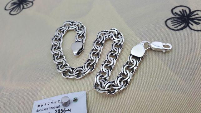 АКЦИЯ! Мужской серебряный браслет бисмарк. Серебро 925°. Цепочка