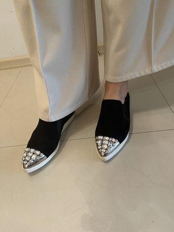 Модные лоферы Miu Miu, женские туфли,слипоны