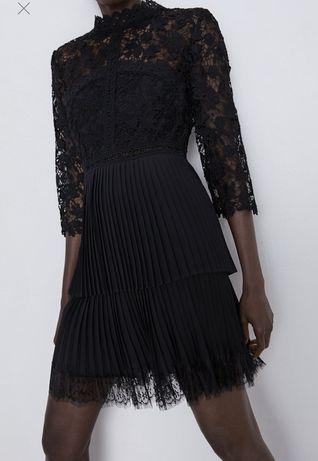 Платье , кружевное платье с плиссировкой zara , xs