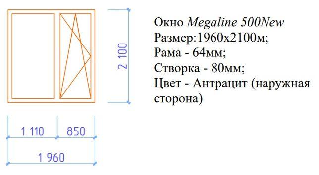 Продаю окно Viknar'off Megaline 500 New (1960х2100мм)