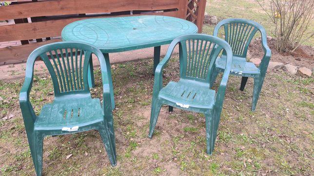 Komplet mebli ogrodowych plastikowy stół i 3 krzesła taniutko :)