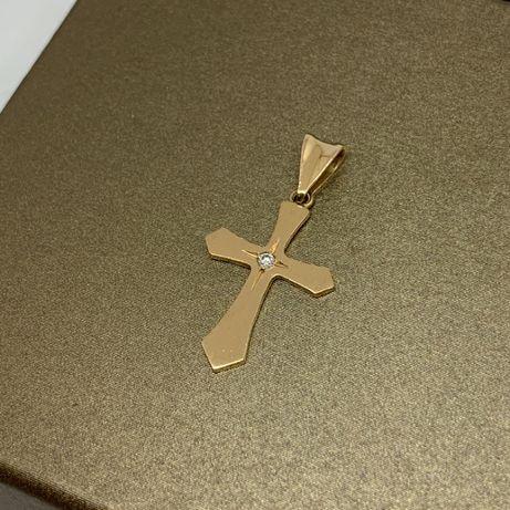 Śliczny, złoty krzyżyk z cyrkonią p585
