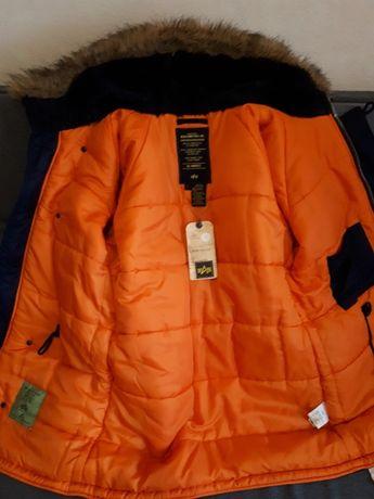 "Куртка зимняя мужская ""Аляска"" Slim Fit N-3B Replica Blue/Orange"