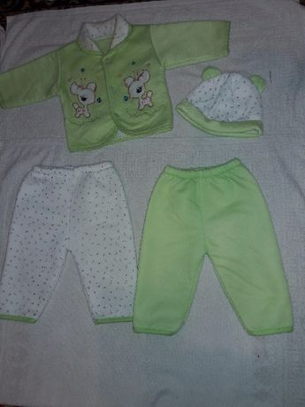Костюм теплый для новорожденного кофта, штаны-2шт, шапка