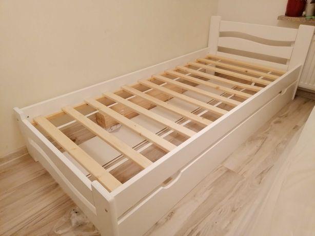 Nowe łóżko 90x200 białe z dolną szufladą z możliwością spania