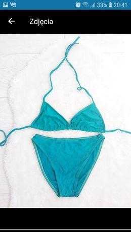 Kostium kąpielowy stanik majtki dwu częściowy strój niebieski S 36