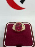 Sygnet złoty z rubinem 19,57g.