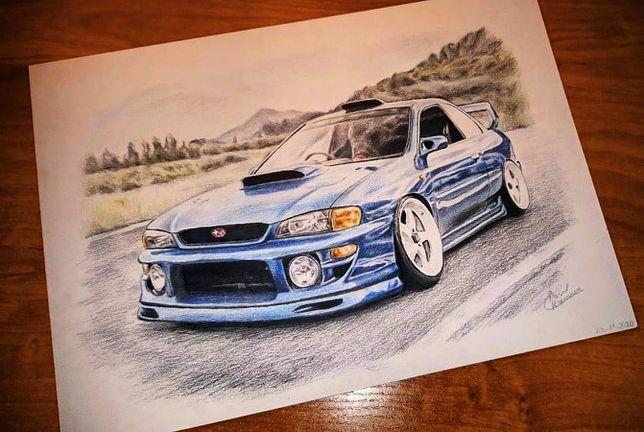 Rysunek/Plakat Subaru Impreza WRX /format A4